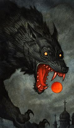 Fantasy Kunst, Dark Fantasy Art, Dark Art, Art And Illustration, Fantasy Creatures, Mythical Creatures, Fenrir Tattoo, Werewolf Art, Arte Obscura