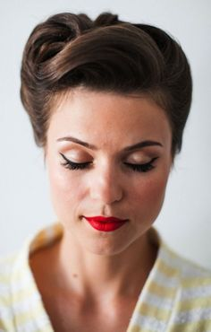 brunette woman with closed eyes, wearing eyeliner and red lipstick, retro updo hairstyle, yellow and white striped top Updos For Medium Length Hair, Short Hair Updo, Medium Hair Styles, Short Hair Styles, Pinup Hair Short, Retro Updo Hairstyles, Wedding Hairstyles, 1940s Hairstyles For Long Hair, Hairstyle Ideas