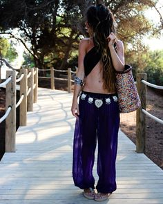 day at the beach.  wrap top and oversized sheer harem pants. i will wear this....