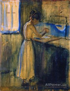 Edvard Munch,Young Woman Washing Herself oil painting reproductions for sale