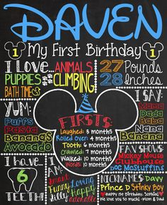 Customied Printable Mickey Mouse Birthday Party 1st Birthday Chalkboard Sign for Party or Photoshoot