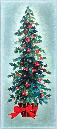 #894 50s Mid Century Holly Tree, Vintage Christmas Card-Greeting