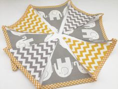 Handmade fabric bunting elephant chevron grey by JennyWrenCraft