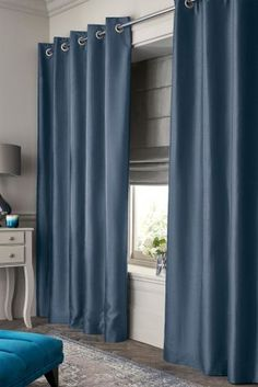 Buy Faux Silk Blackout Eyelet Curtains from the Next UK online shop Blackout Eyelet Curtains, Curtains With Blinds, Student Bedroom, Next Uk, Uk Online, New Homes, Lounge, Silk, Stuff To Buy