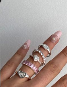 Nail Jewelry, Cute Jewelry, Jewelry Accessories, Pink Jewelry, Hippie Jewelry, Trendy Jewelry, Heart Jewelry, Ring Necklace, Earrings