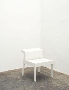 Trojan white lacquered MDF chair  Alex Hellum