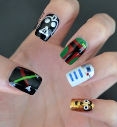 Star Wars nail art. Boba looks the best