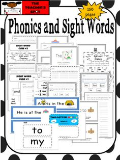 Phonics and Sight Word Bundle for Emergent Readers. Homework, Literacy Centers, Games, Word Cards, etc. 30 Sight Words Rhyming Puzzle Word Cards / Word Wall Handwriting Practice Word Scramble Word Searches 30 Fluency Sentence Strips Pocket Chart Activities 15 Books for