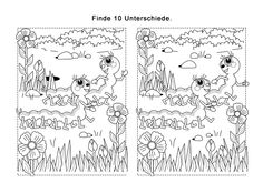 Worin unterscheiden sich die beiden Raupen? Auf diesem Fehlersuchbild muss ihr Kind die 10 Unterschiede zwischen den Raupen finden. Danach kann es das Bild ausmalen.
