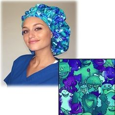 Green Scrubs Tie Bonnet OR Hat. It has more cubic capacity than the bouffant scrub cap and can accommodate even the fullest locks. #scrubs.com