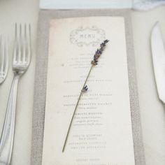 Antique-looking menu card with lavender sprig | Kaleidoscope Weddings | LoveLeigh Invitations