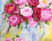 Original Peonies Impressionist  Floral oil painting pink flowers yellow grayish blue background by J Beaudet