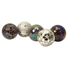 "Set of five decorative balls with glass mosaic designs.Product: 5 Piece decorative ball setConstruction Material:  Poly-foam and  glassColor: MultiFeatures:  Decadently opulentCracked-style mosaic bodyWill enhance any décor  Dimensions: 4"" Diameter each"
