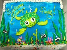 Meeresschildkrötenkuchen - Baby,kids,Mother & more - Kuchen Turtle Birthday, Turtle Party, Hawaiian Birthday, Sheet Cake Designs, Rodjendanske Torte, Ocean Cakes, Birthday Sheet Cakes, Decoration Patisserie, Animal Cakes