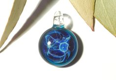 Blue Sky Amulet,  Blown Glass Necklace Pendant by CreativeFlowGlass at glassnecklacependants.com