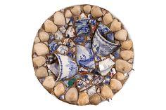 19TH CENTURY BLUE & WHITE MOSAIC PLATE Item #: 22928 $65.00