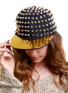 BeHoneyBee spiked gold hat