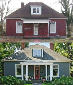 Exterior Renovation Before And After Life 54 Ideas Best Exterior Paint, Design Exterior, Exterior Paint Colors For House, Paint Colors For Home, Interior And Exterior, Diy Exterior, Exterior Colors, Craftsman Exterior, Home Exterior Makeover
