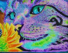 Purple cat print. Print of the original gouche by everybithooked