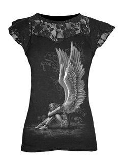 Femmes ROCK top Angel Roses METAL Filles Spiral direct stud taille mini robe tee