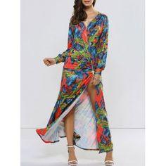 High Slit Long Sleeve Maxi Surplice Dress