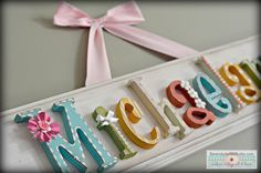 Custom modern vintage name plaque - made to order wall letter sign, personlized heirloom quality children's nursery art and decor