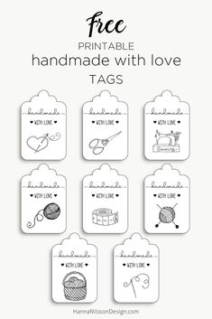 Handmade with love tags Writing up the first post of 2018 feels great! Another year ahead of free printables. As our fist printable added this year we have a set of tags to add to handmade gifts in no less than Free Printable Gift Tags, Printable Labels, Free Printables, Labels Free, Handmade Stamps, Handmade Gift Tags, Merci Shop, Sewing Labels, Love Tag
