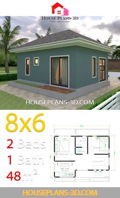 House Plans with 2 Bedrooms Hip roof - House Plans Little House Plans, Dream House Plans, Small House Plans, 2 Bedroom House Plans, Cottage Style House Plans, Simple House Design, Tiny House Design, Small Dream Homes, Model House Plan