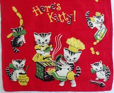 Vintage red kitchen dish towel with Here's Kitty cat print, bright and clean! | eBay