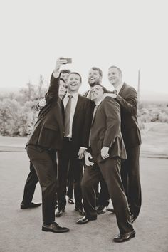 Groom and groomsmen take selfies too. #weddingselfie Captured By: Elyse Hall Photography --- http://www.weddingchicks.com/2014/06/02/desert-wedding/