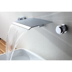 Found it at AllModern - Double Handle Wall Mount Waterfall Bathroom Sink Faucet