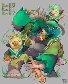 Grookey, Thwackey, Rillaboom By i_nabaya Pokemon Comics, Pokemon Memes, Pokemon Fan Art, Luxray Pokemon, Mega Pokemon, Pokemon Fusion, Pokemon Cards, Grass Type Pokemon, Pikachu