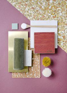 Weekly material mood 〰 Persian Red Oak & Khaki Velvet #velvet #olivegreen…