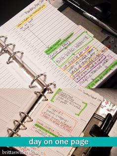 Filofax Inserts - Day on One Page by Britta Swiderski