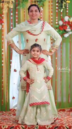 Mother daughter matching outfits ideas for wedding season - Indian Fashion Ideas Indian Dresses For Kids, Indian Outfits, Red Lehenga, Anarkali, Patiala Salwar, Sharara, Shalwar Kameez, Kurti, Mom Daughter Matching Outfits