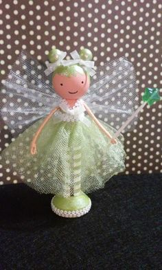 Green Fairy Miniature Wooden Clothespin Doll by SugarlandDollHouse