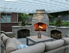 Imposing Outdoor Fireplace Designs to Add Warmth at Patio: White Pergola Design Ideas Applied In Outdoor LIving Space Finished With Best Outdoor Fireplace Designs Unit ~ SFXit Design Furniture Inspiration Outdoor Fireplace, Beautiful Outdoor Living Spaces, Fireplace Design, Outdoor Decor, Patio Design, Pergola Plans, Outdoor Fireplace Designs