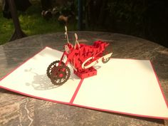 Motobike 3d Pop-Up Card Pop Up, Transportation, Playing Cards, 3d, Popup, Playing Card Games, Game Cards, Playing Card
