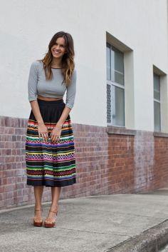 Gray top + colorful full skirt