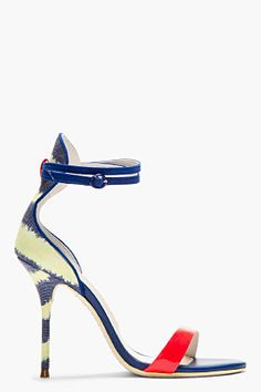 SOPHIA WEBSTER Blue Leather & canvas striped Nicole heels