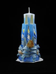 Hand Carved Candle, Blue and White Lighthouse with a Sand Castle and Turtle 7 Inch is available at $29.00 https://www.etsy.com/listing/453145846/hand-carved-candle-blue-and-white?utm_source=socialpilotco&utm_medium=api&utm_campaign=api  #candles #pillar