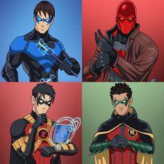 Nightwing. Dick Grayson. Red Hood. Jason Todd. Red Robin. Tim Drake. Robin. Damian Wayne.