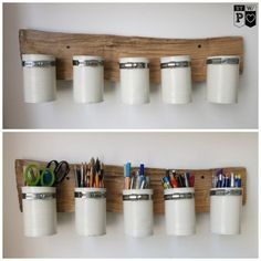 Order in the home office. Can recycling, upcycling. Desk Storage, Desk Organization, Storage Pods, Storage Caddy, Cheap Storage, Upcycled Home Decor, Diy Home Decor, Recycling, Coin Couture