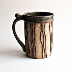 Ceramic+deep+green+mug+with+wavy+carved+lines+by+toucanartstudio,+$29.00
