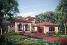 "Sater Design's 8071 ""Casina Rossa"" house plan from our European Home Plan Portfolio...."