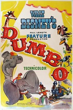 A charmingly illustrated vintage movie poster for the Disney classic, Dumbo. #vintage #movies #posters