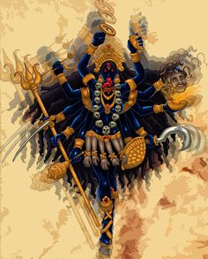 Kali comes from the Sanskrit root word Kal which means time. Kali Mata is the goddess of time, doomsday, and death, also known as the black goddess. Kali's orig Indian Goddess Kali, Goddess Art, Durga Goddess, Indian Gods, Kali Yantra, Kali Tattoo, Mantra Tattoo, Kali Hindu, Hindu Art