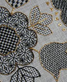 blackwork | Blackwork Hearts and Flowers – Ta da! – The Unbroken Thread
