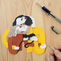 """Spanish illustrator Juan Carlos aka Jotaka created this fantastic series of paper family portraits by rendering his bendy illustrated characters in cut paper. Titled La siesta, he describes the images as """"a personal project about hugs, the importance and the ideal time to receive them."""" Some of thes"""