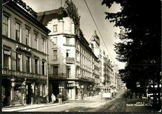 Oslo Stortingsgaten med trikk og Hotell Norge brukt 1930- tall Utg Harstad forlag